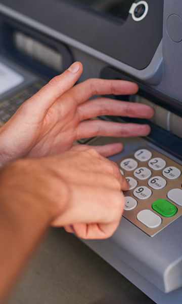 cover the PIN pad when entering numbers at the ATM